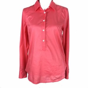 j crew coral popover top blouse size 8
